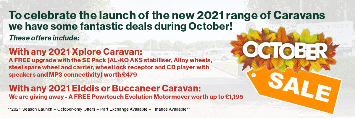 To celebrate the launch of the new 2021 range of Caravans we have some fantastic deals during October!
